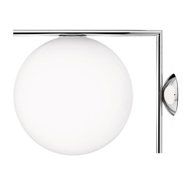 flos ic c/w2 væglampe stål - flos